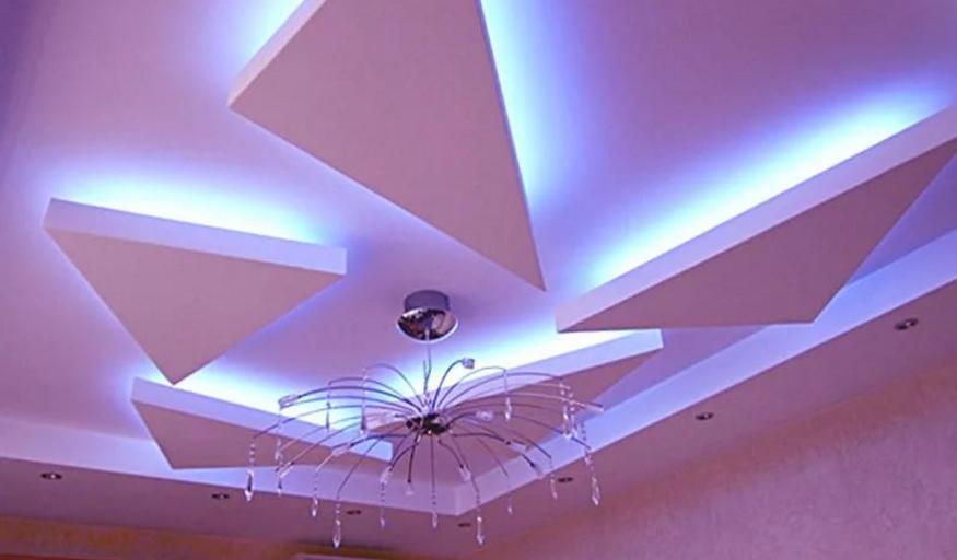 Потолок из ГКЛ формы треугольников