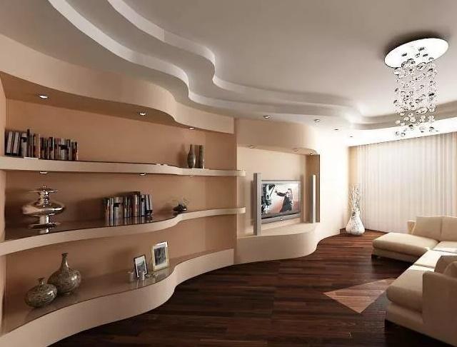 конструкции из гипсокартона в гостиной